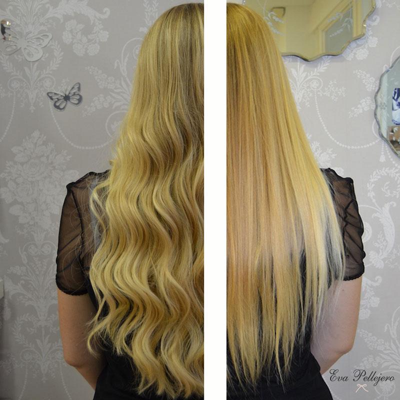 extensiones para novias, antes y después, extensiones great lenghts en Eva Pellejero Beauty Salon